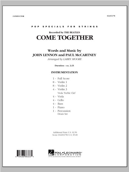 Come Together (COMPLETE) sheet music for orchestra by Larry Moore and The Beatles. Score Image Preview.