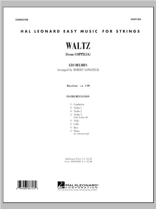 Waltz (from Coppelia) (COMPLETE) sheet music for orchestra by Robert Longfield and Leo Delibes. Score Image Preview.