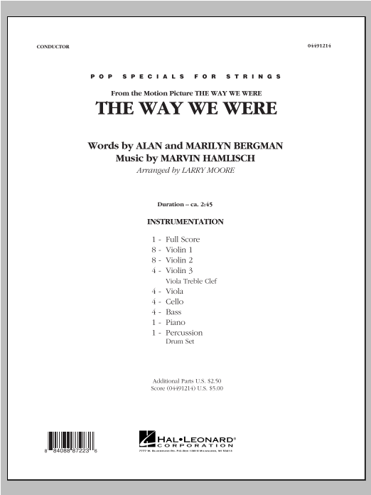 The Way We Were (COMPLETE) sheet music for orchestra by Larry Moore, Alan Bergman, Marilyn Bergman and Marvin Hamlisch. Score Image Preview.