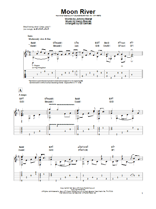 Tablature guitare Moon River de Henry Mancini - Tablature Guitare
