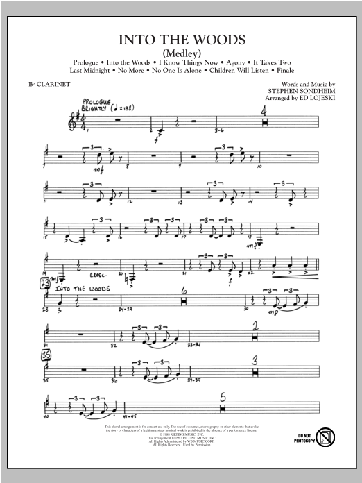 Into The Woods (Medley) - Bb Clarinet Sheet Music