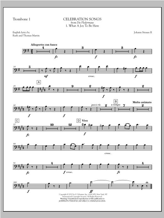 Celebration Songs (from Die Fledermaus) - Trombone 1 (Choir Instrumental Pak)
