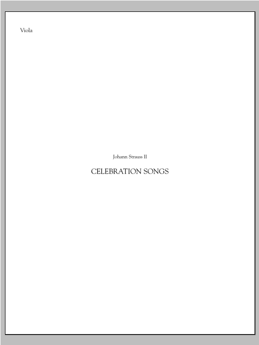 Celebration Songs (from Die Fledermaus) - Viola Sheet Music