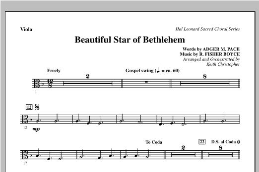 Beautiful Star Of Bethlehem - Viola Sheet Music