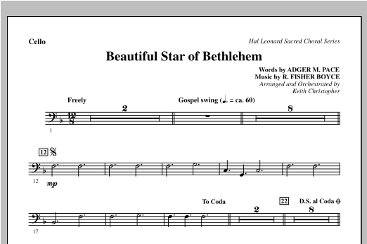 Beautiful Star Of Bethlehem - Cello Sheet Music