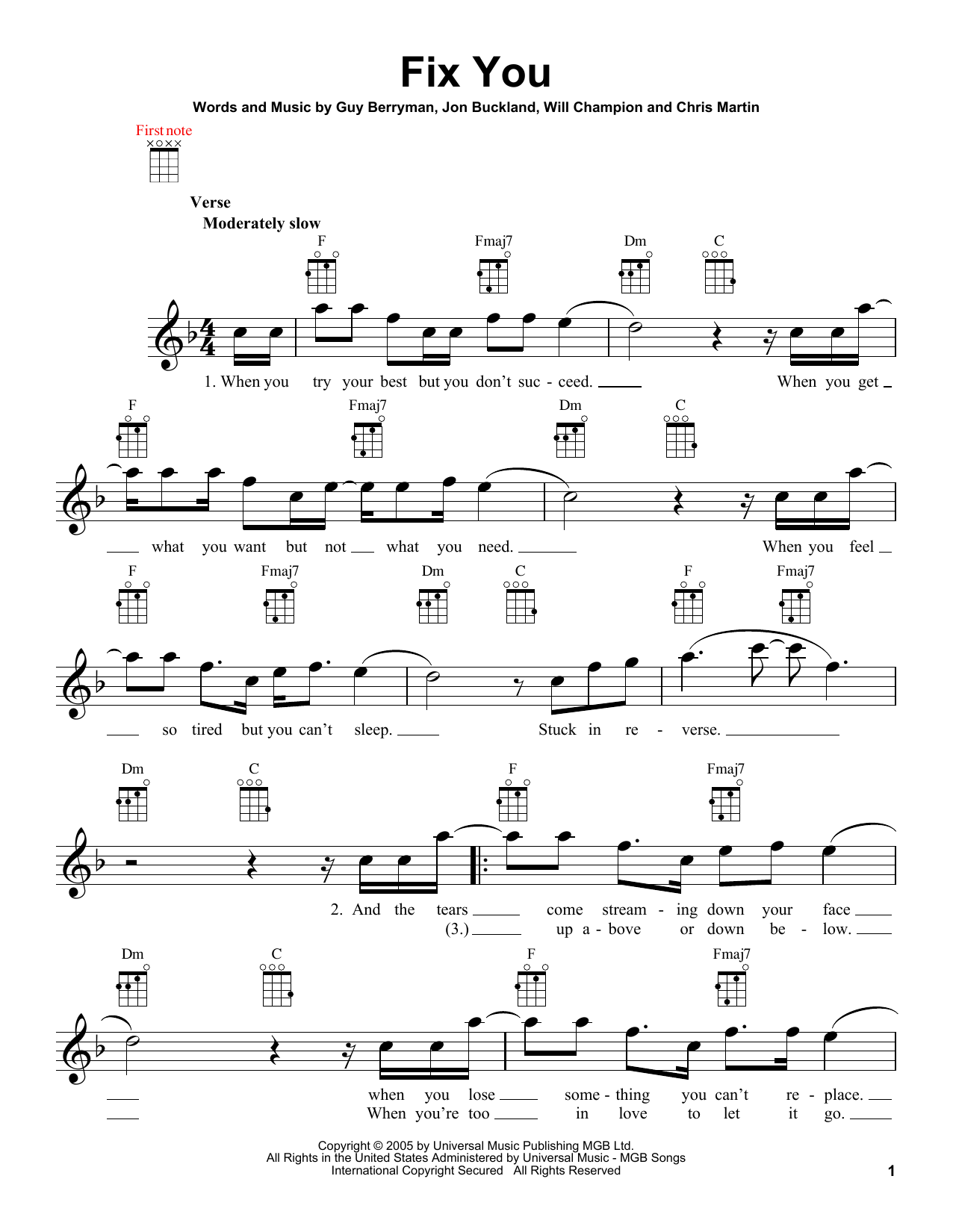 Fix You Sheet Music