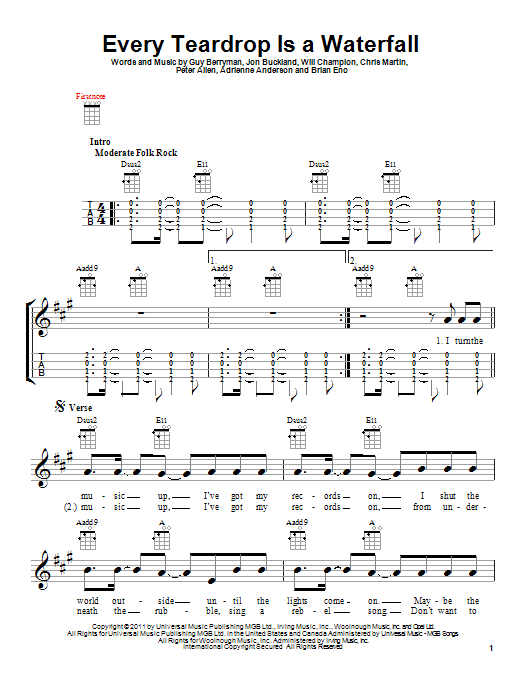 Every Teardrop Is A Waterfall Sheet Music