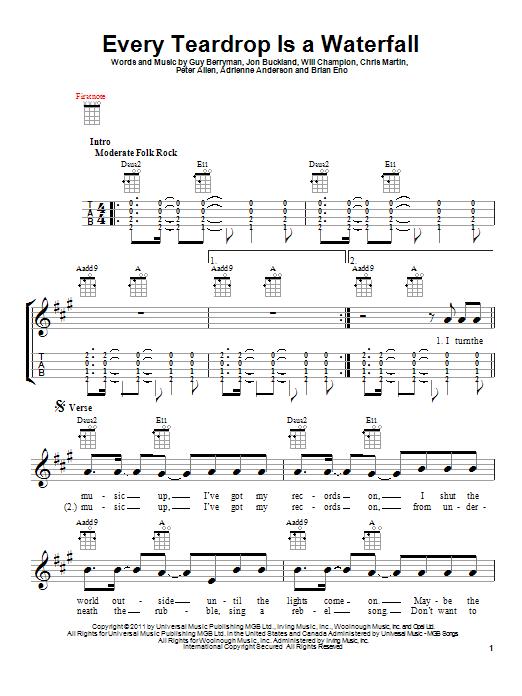 Every Teardrop Is A Waterfall Sheet Music By Coldplay Ukulele 93338