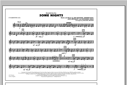 Some Nights - Eb Baritone Sax Sheet Music