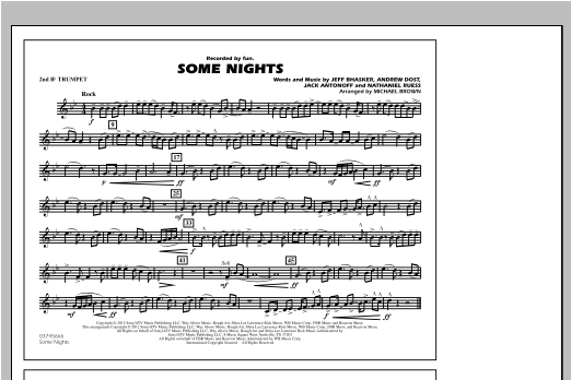 Some Nights - 2nd Bb Trumpet Sheet Music