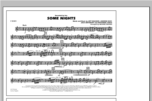 Some Nights - F Horn Sheet Music