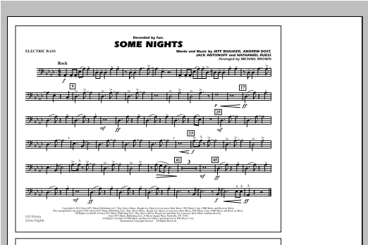 Some Nights - Electric Bass Sheet Music