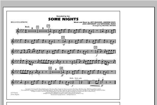 Some Nights - Bells/Xylophone Sheet Music
