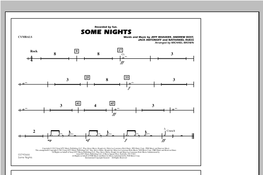 Some Nights - Cymbals Sheet Music