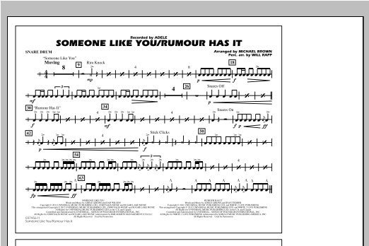 Someone Like You/Rumour Has It - Snare Drum Sheet Music