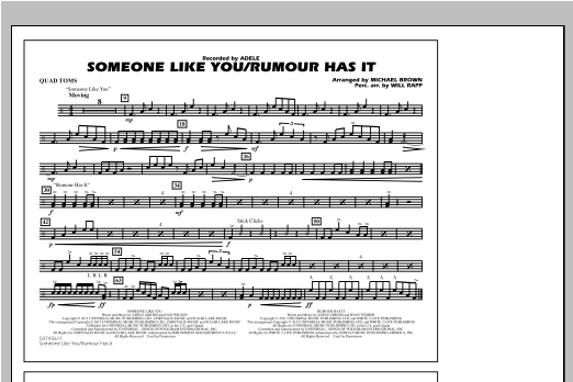 Someone Like You/Rumour Has It - Quad Toms Sheet Music
