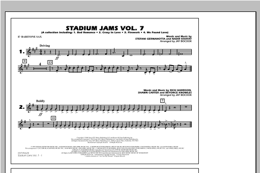 Stadium Jams Vol. 7 (Ladies Of Pop) - Eb Baritone Sax Sheet Music