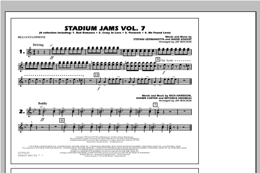 Stadium Jams Vol. 7 (Ladies Of Pop) - Bells/Xylophone Sheet Music