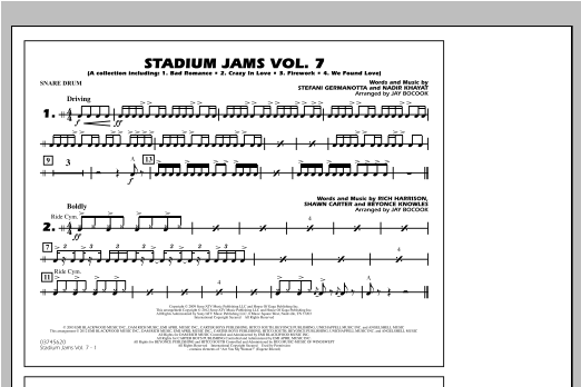 Stadium Jams Vol. 7 (Ladies Of Pop) - Snare Drum Sheet Music