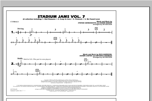 Stadium Jams Vol. 7 (Ladies Of Pop) - Cymbals Sheet Music