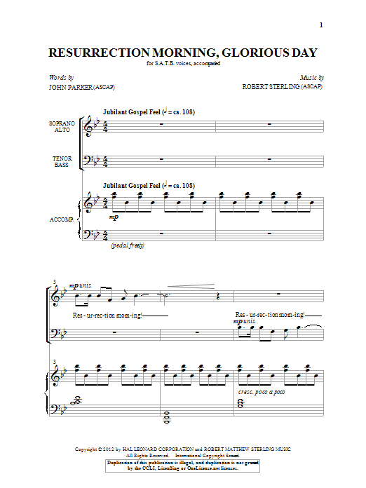 Partition chorale Resurrection Morning, Glorious Day de Robert Sterling - SATB