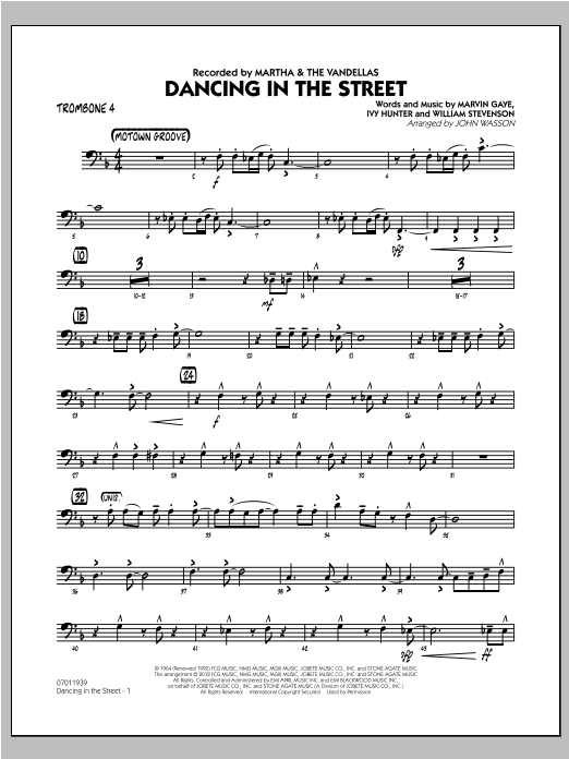 Dancing In The Street - Trombone 4 Sheet Music