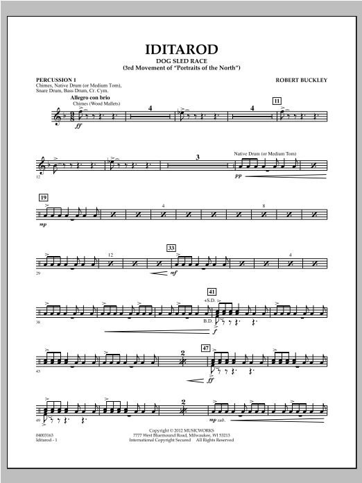 Iditarod - Percussion 1 Sheet Music
