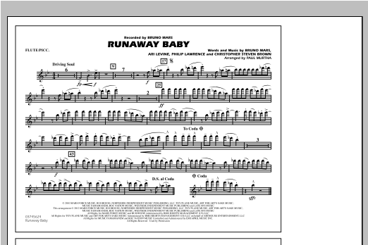 Runaway Baby - Flute/Piccolo Sheet Music