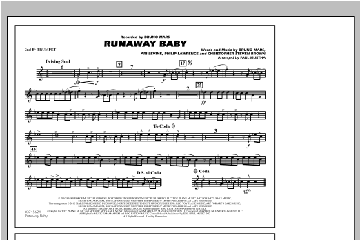 Runaway Baby - 2nd Bb Trumpet Sheet Music
