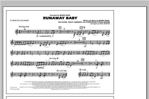 Runaway Baby - Bb Horn/Flugelhorn (Marching Band)