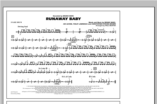 Runaway Baby - Snare Drum (Marching Band)