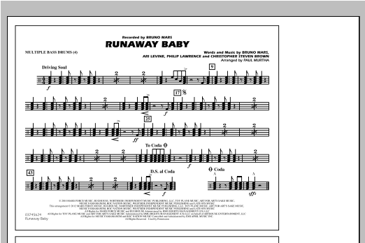 Runaway Baby - Multiple Bass Drums (Marching Band)