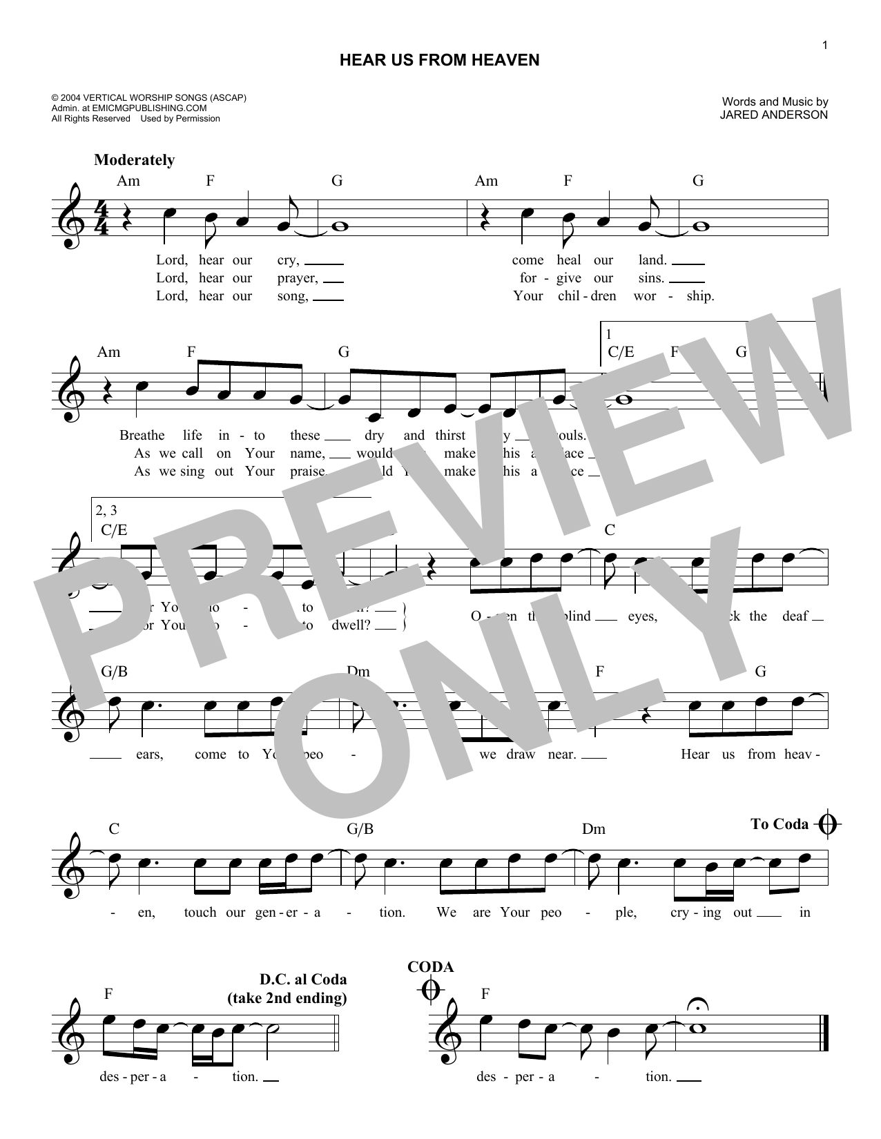 Hear Us From Heaven Sheet Music