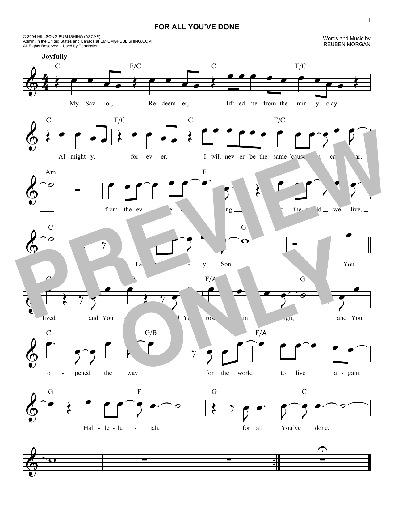 For All You've Done Sheet Music