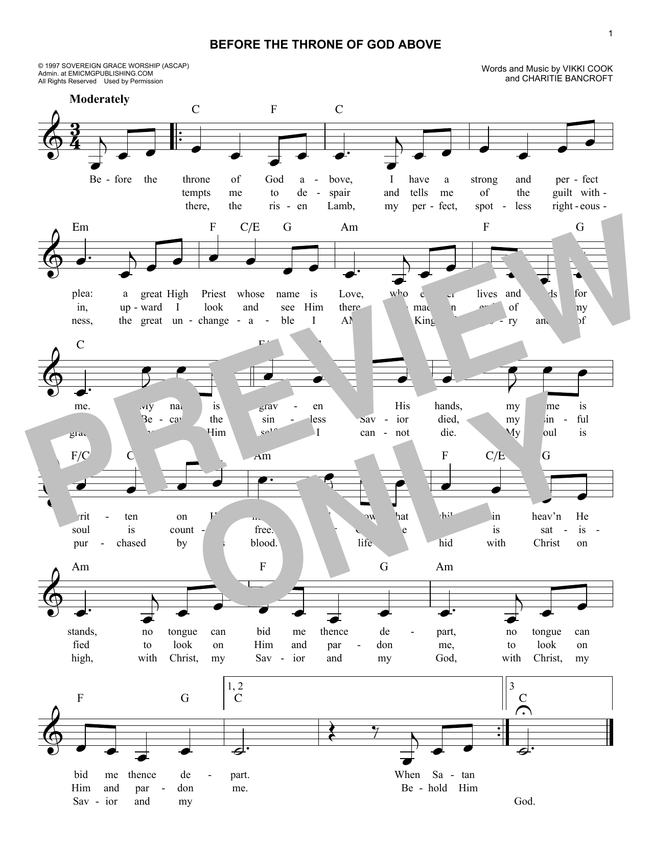 Before The Throne Of God Above (Lead Sheet / Fake Book)