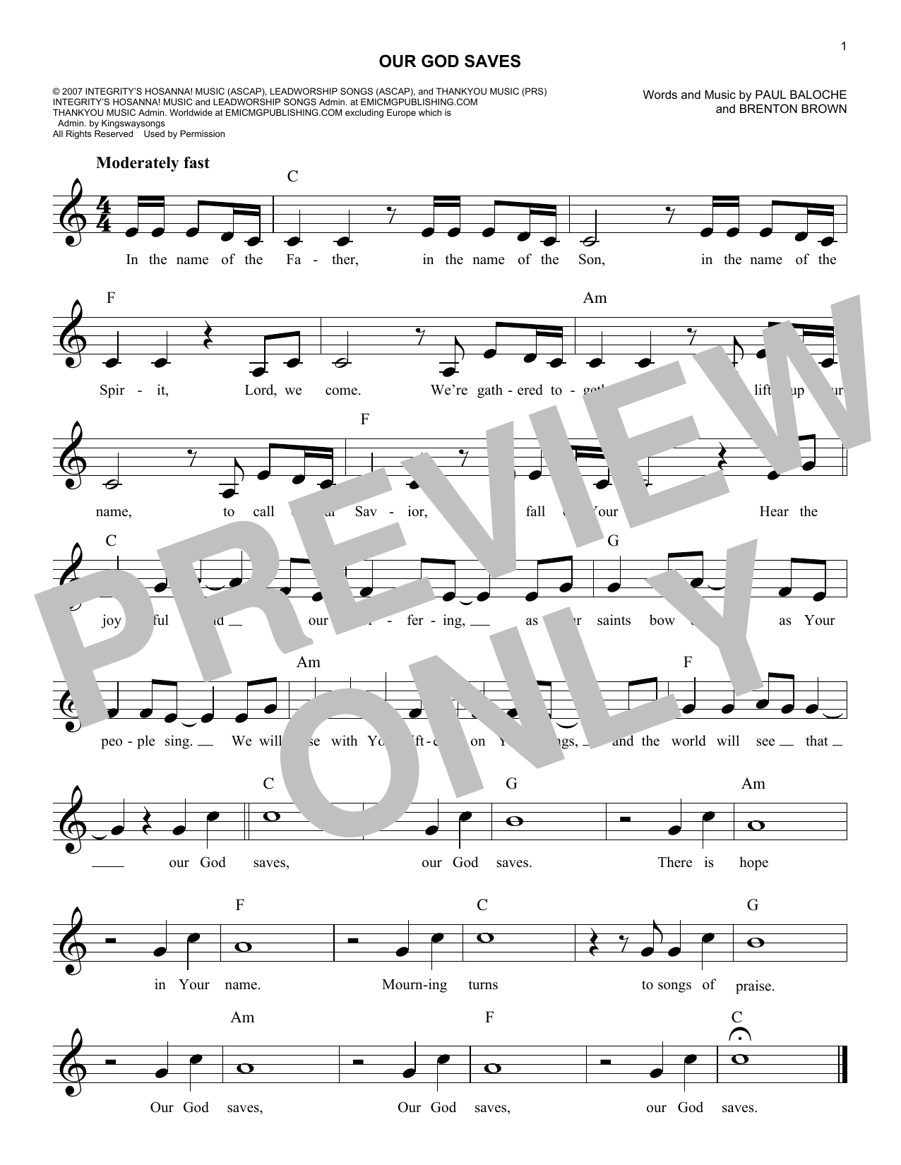 Our God Saves (Lead Sheet / Fake Book)