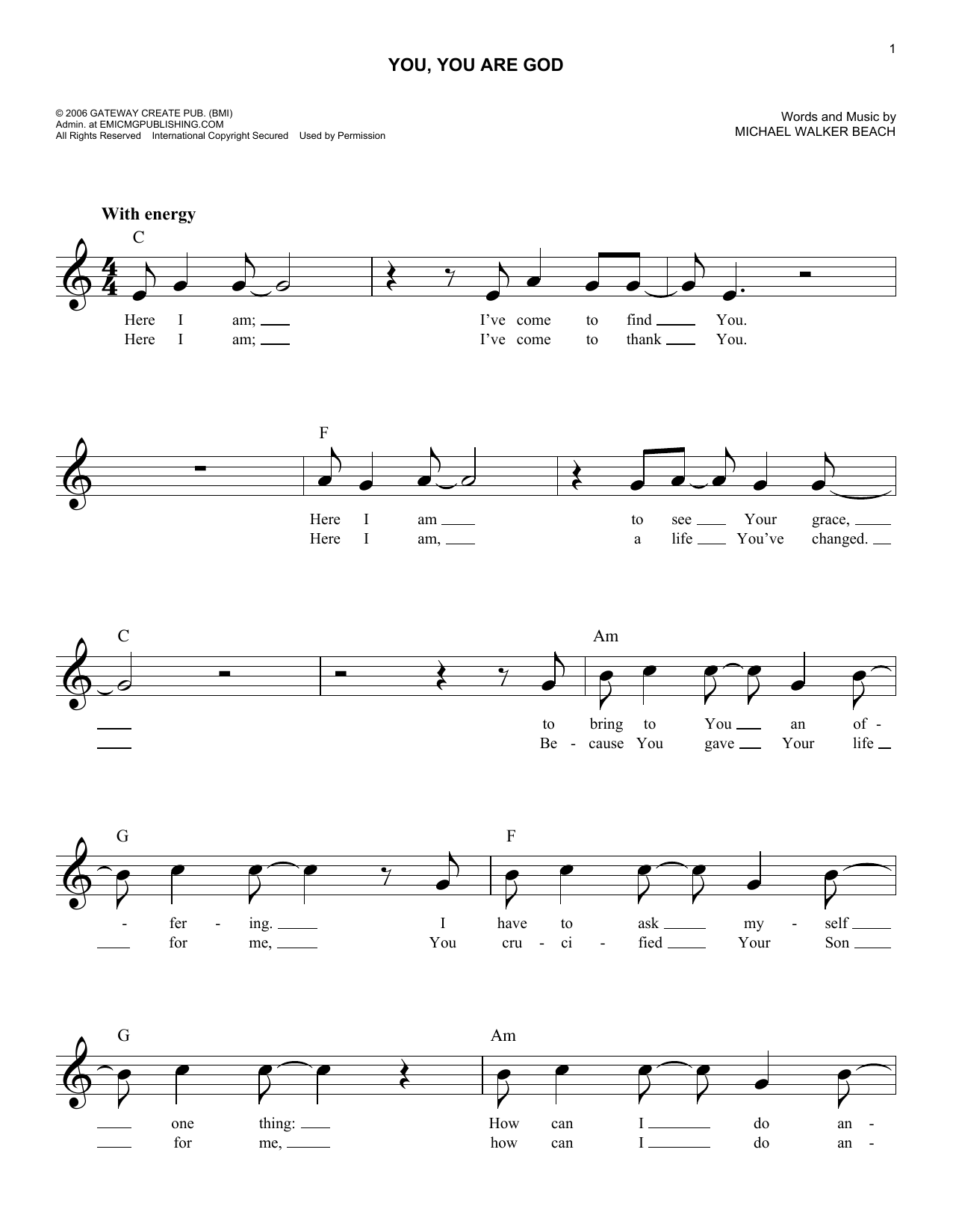 You, You Are God (Lead Sheet / Fake Book)