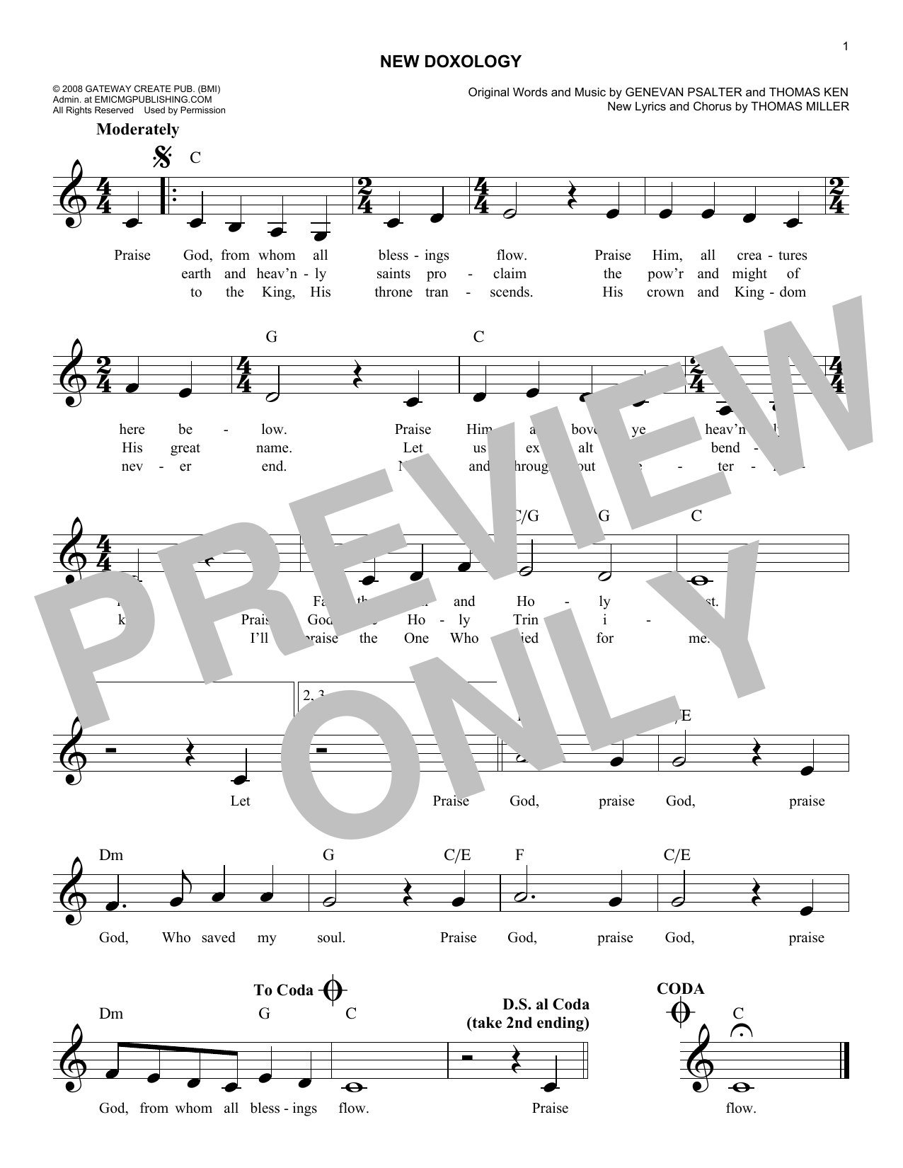 New Doxology (Lead Sheet / Fake Book)