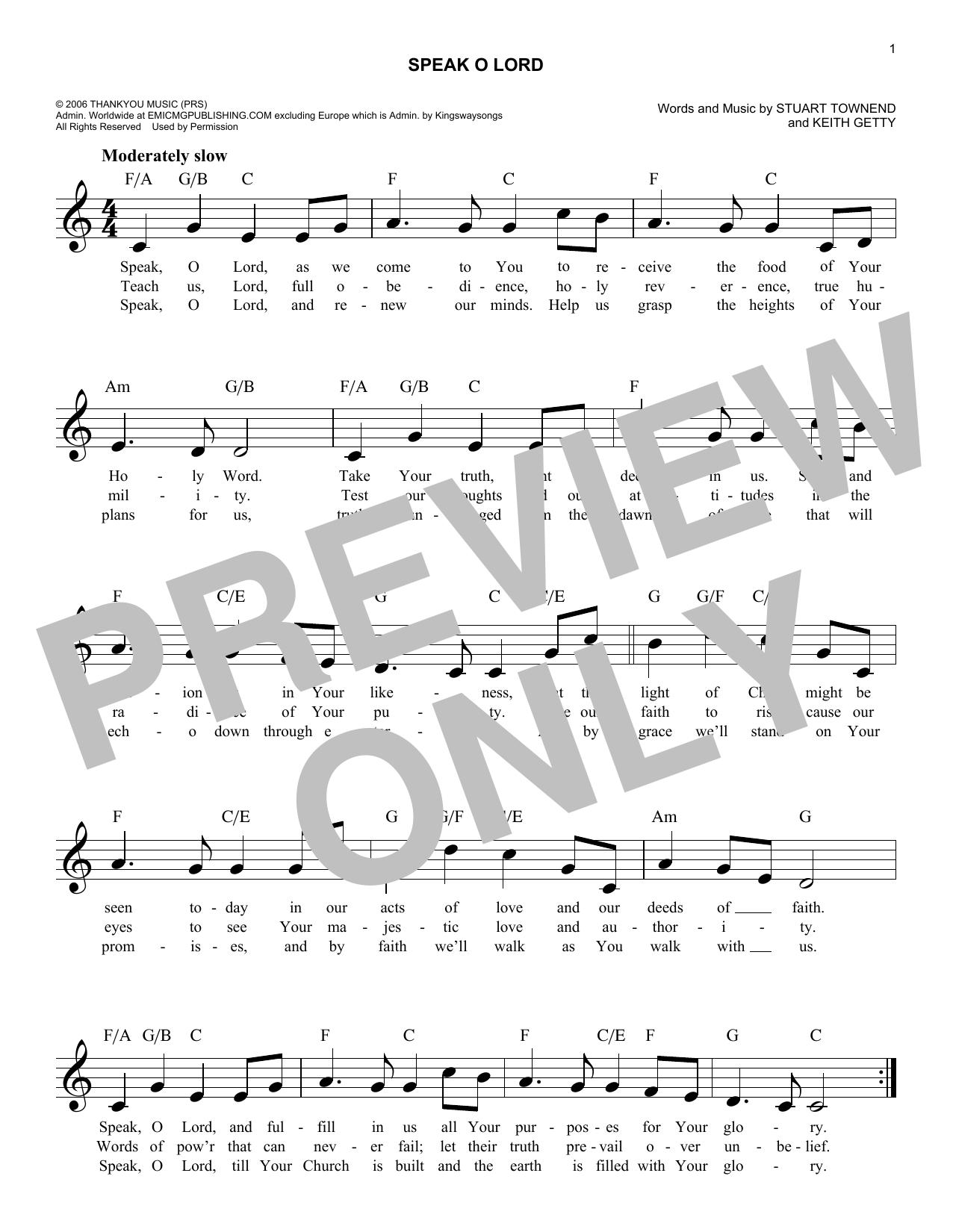 Speak O Lord Sheet Music
