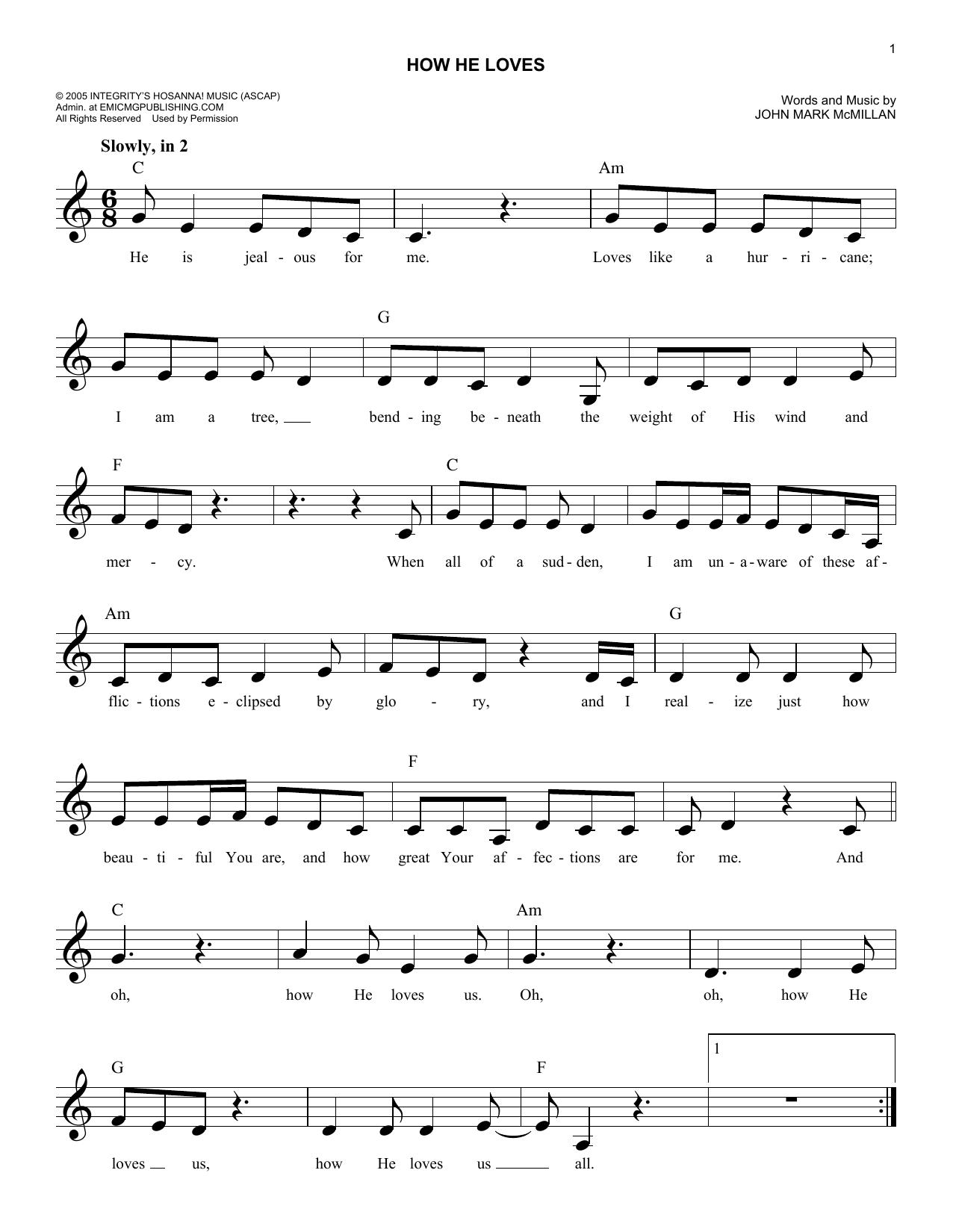 How He Loves Sheet Music David Crowderband Melody Line Lyrics