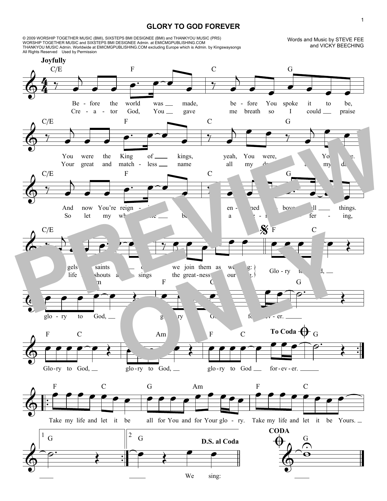 Glory To God Forever (Lead Sheet / Fake Book)