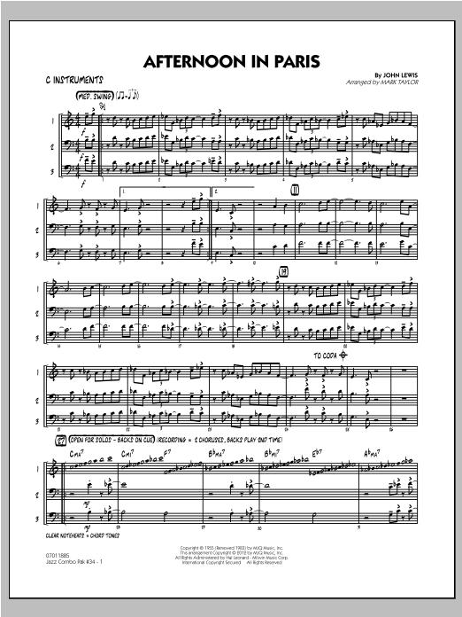 Jazz Combo Pak #34 (Modern Jazz Quartet) - C Instruments Sheet Music