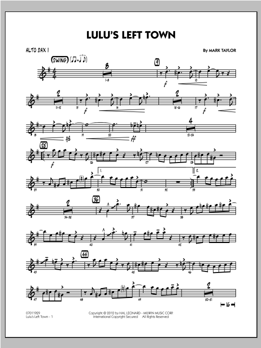 Lulu's Left Town - Alto Sax 1 Sheet Music