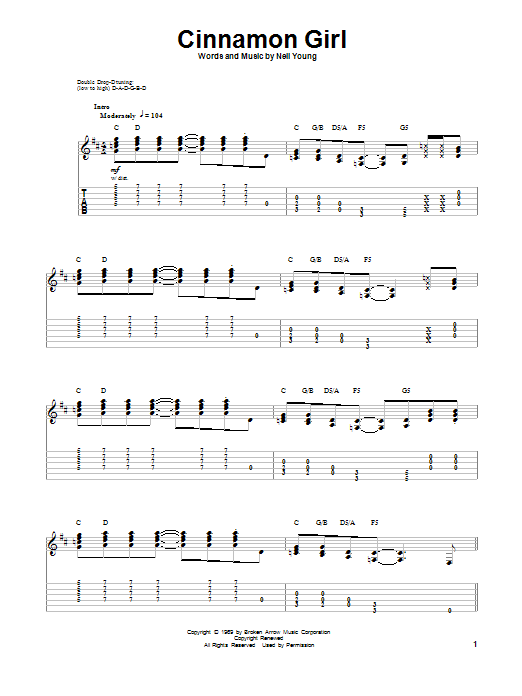 Cinnamon Girl Sheet Music