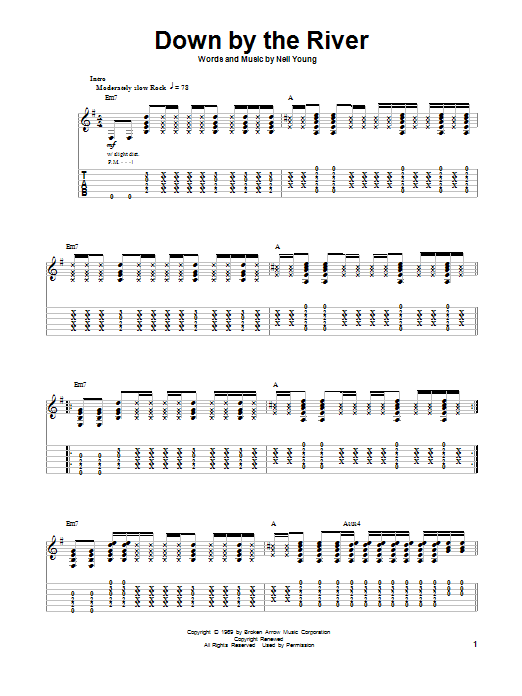 Down By The River (Guitar Tab (Single Guitar))