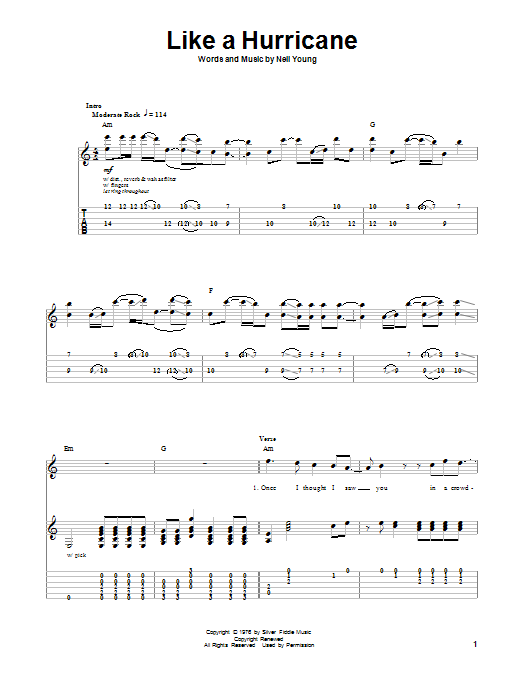 Like A Hurricane Sheet Music By Neil Young Guitar Tab Play Along