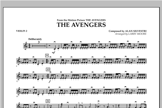 The Avengers (Main Theme) - Violin 2 by Larry Moore Orchestra Digital Sheet  Music