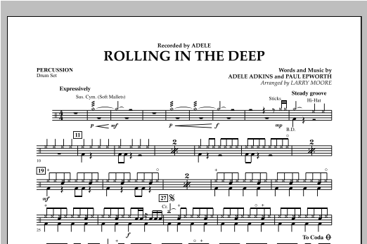 Rolling in the Deep - Percussion Sheet Music