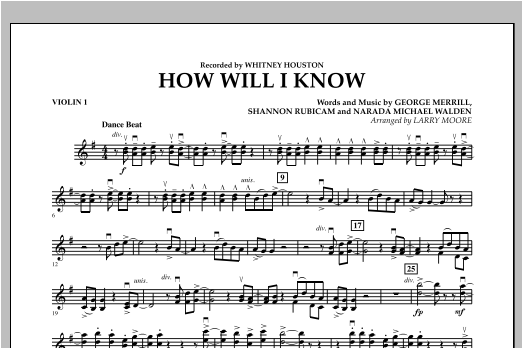How Will I Know - Violin 1 Sheet Music