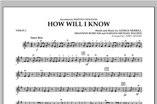 How Will I Know - Violin 2 (Orchestra)